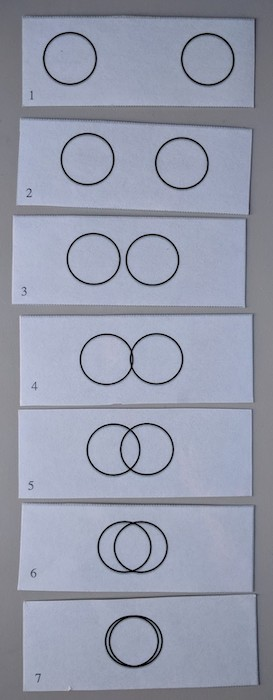 seven cards, each with a picture of a pair of increasingly overlapping circles on it