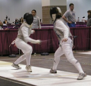 _two fencers on the strip at the Denver NAC 2005