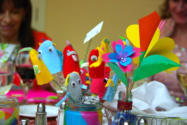 monster finger puppets and paper flowers