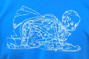 Descartes' mechanical baby in white on blue