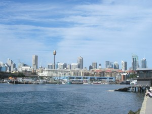 _blue skies and clouds above the Sydney skyline_