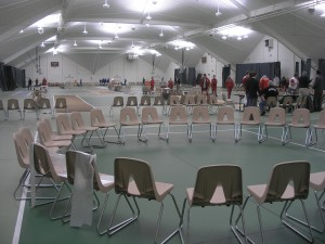 calm before the storm: circle of chairs in Walker Bay 5 before an intense day of fencing competition