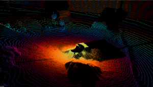 artificial color 3D LIDAR image of an area