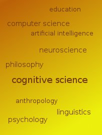 _yellow-orange gradient background with word cloud showing fields influencing cognitive science: education computer science artificial intelligence neuroscience philosophy anthropology linguistics psychology_