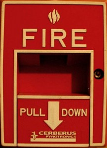_red fire alarm pull handle_