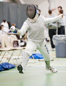Me on the strip at a fencing competition.