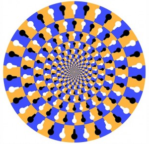 _optical illusion of several rings of color that appear to move when you look at them_
