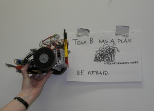 _a robot, a pile of legos and wires, held up next to a paper sign depicting said robot_