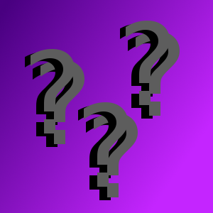 question marks on a purple background