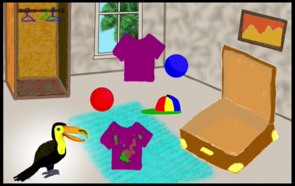 scene from a tablet app showing a toucan looking at things in a bdroom: a suitcaes, a closet, shirts, balls, a hat